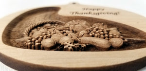 3D Wooden Thanksgiving Ornament Cornucopia Ornament Thanksgiving engraving