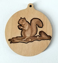 Load image into Gallery viewer, 3D Wooden Squirrel Ornament Squirrel ornament Laser Engraved squirrel engraving