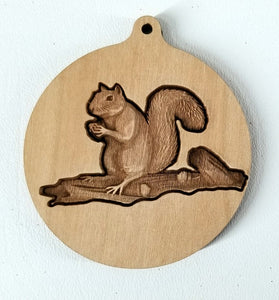 3D Wooden Squirrel Ornament Squirrel ornament Laser Engraved squirrel engraving