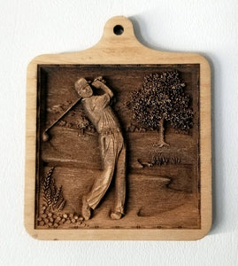 Golfer Ornament Wooden Ornament Golfer Laser Engraved