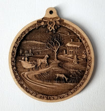 Load image into Gallery viewer, 3D Wooden Sleigh Ride Ornament Americana Sleigh Ride ornament Laser Engraved ornament