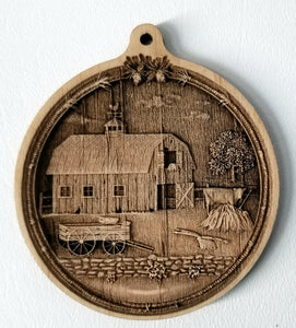 3D Wooden Barn Ornament Hay Barn Laser Engraved wood ornament