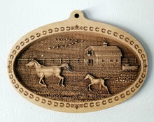 Load image into Gallery viewer, 3D Wooden Ornament Running Horses Barn Laser Engraved horse ornament Mare and foal ornament