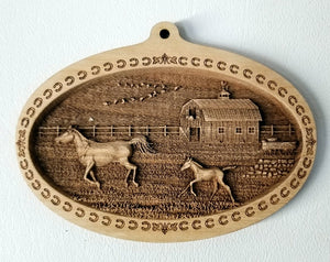 3D Wooden Ornament Running Horses Barn Laser Engraved horse ornament Mare and foal ornament