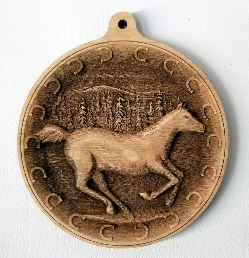 3D Wooden Horse Ornament Horse Laser Engraved