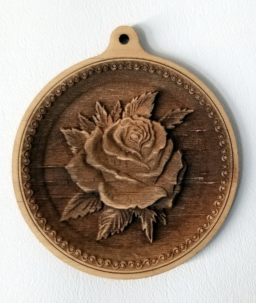 3D Wooden Rose Ornament Rose ornament Laser Engraved rose