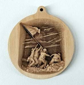 3D Wooden Iwo Jima commemorative Ornament Iwo Jima Laser Engraved Ornament