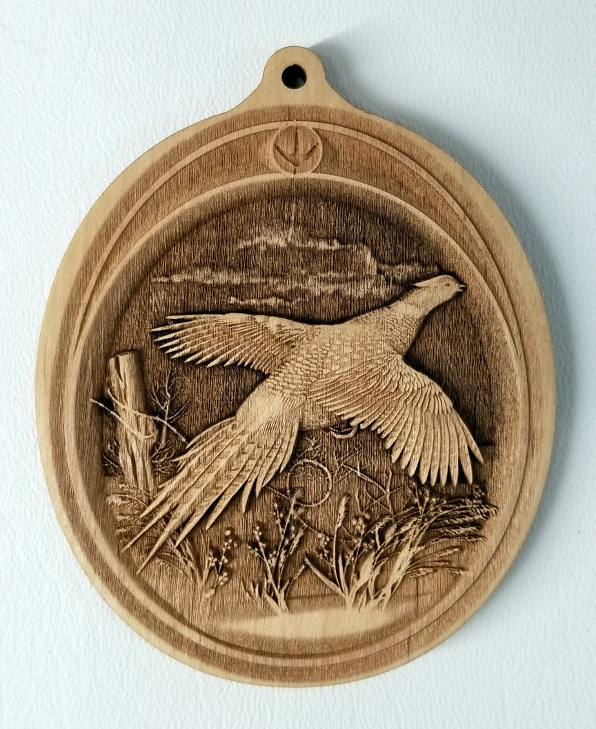 3D Wooden Pheasant Ornament Pheasant Laser Engraved ornament