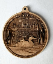 Load image into Gallery viewer, 3D Wooden Loon Ornament Loon with Chick Laser Engraved