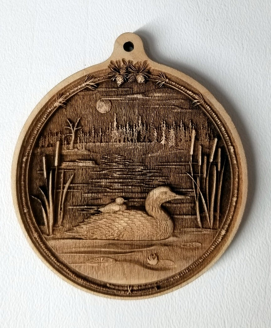 3D Wooden Loon Ornament Loon with Chick Laser Engraved