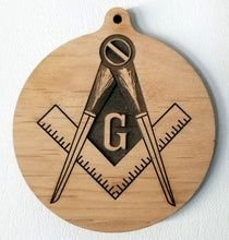 Load image into Gallery viewer, 3D Wooden Ornament Masons symbol ornament mason ornament Mason's wood ornament