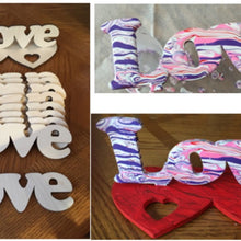 Load image into Gallery viewer, Love Standup. Wood cutout.  Laser Cutout. Wood Sign. Unfinished wood cutout. Sign blank. Ready to paint. Valentine's Day.