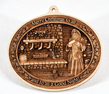 Load image into Gallery viewer, Santa Fireplace Ornament. 3D Wooden Ornament. Laser Engraved.  Unfinished Wood. Laser Engraved. Christmas Decoration. Wreath Accent