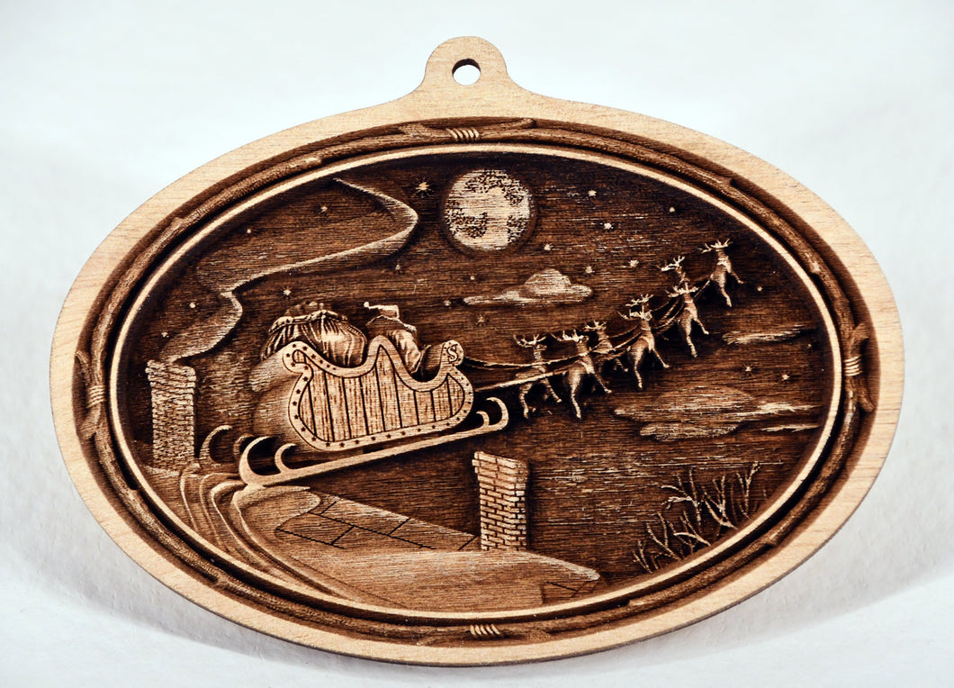 Santa Sleigh Ornament. 3D Wooden Ornament. Laser Engraved.  Unfinished Wood. Laser Engraved. Christmas Decoration. Wreath Accent