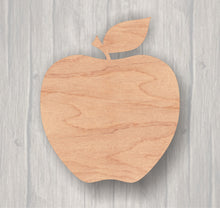 Load image into Gallery viewer, Apple.  Unfinished wood cutout.  Wood cutout. Laser Cutout. Wood Sign. Sign blank. Ready to paint. Door Hanger.