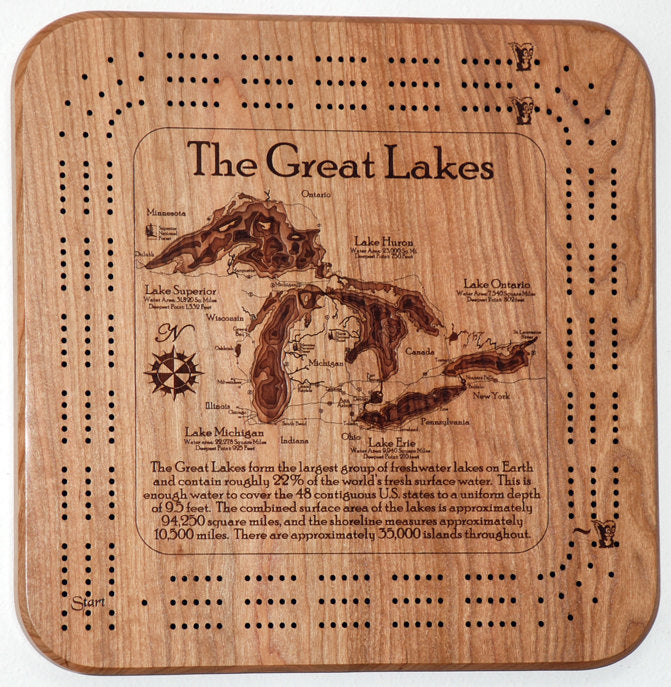 Great Lakes, 3 Player Cribbage Board, 3D, Solid Cherry, FREE SHIPPING, High quality pegs, Laser engraved depth