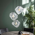 Hanglamp 3L rock clear getrapt