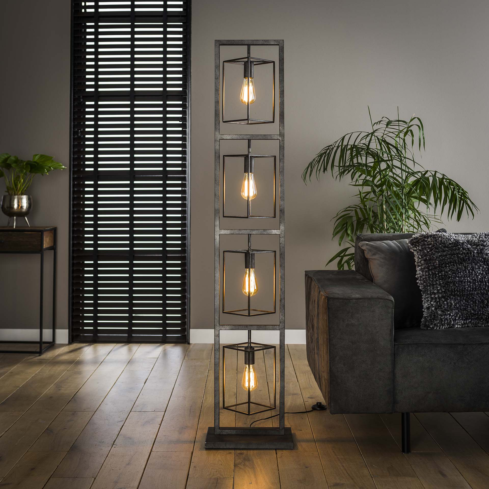 Vloerlamp oud zilver 4x cubic tower