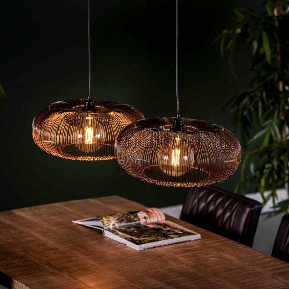Hanglamp 2x Ø43 disk wire copper twist