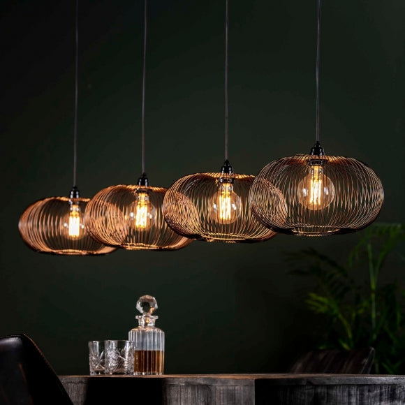 Hanglamp 4x Ø35 disk wire copper twist