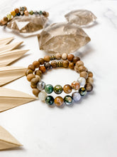 Load image into Gallery viewer, Petrified Wood and Ocean Jasper Bracelet