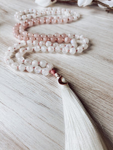 Rose Quartz and Rainbow Moonstone Mala Necklace