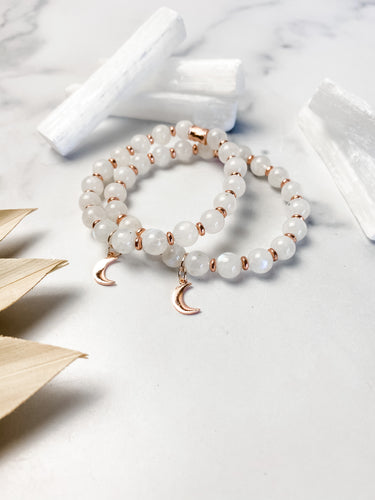Rainbow Moonstone and Rose Gold Moon Bracelet