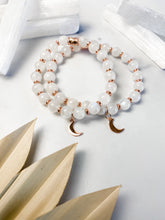Load image into Gallery viewer, Rainbow Moonstone and Rose Gold Moon Bracelet