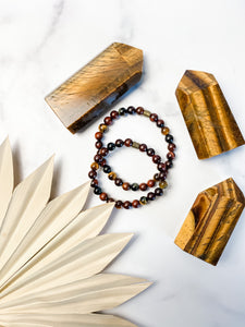 Mahogany Wood and Multicolored Tiger Eye Bracelet