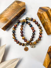 Load image into Gallery viewer, Multicolored Tiger Eye and Pine Tree Charm Bracelet