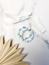 Load image into Gallery viewer, Aquamarine, Celestite and Rainbow Moonstone Bracelet