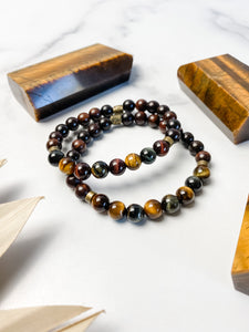 Tiger Eye and Mahogany Wood Bracelet