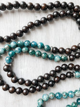 Load image into Gallery viewer, Apatite and Ebony Wood Tassel Necklace
