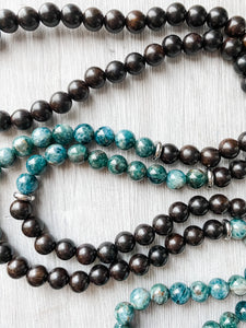 Apatite and Ebony Wood Tassel Necklace
