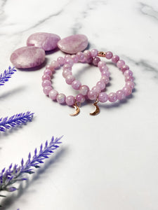 Kunzite Rose Gold Moon Bracelet