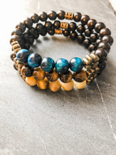 Load image into Gallery viewer, Tiger Eye and Ebony Wood Bracelet