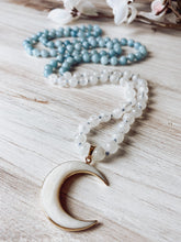 Load image into Gallery viewer, Aquamarine and Moonstone Mala with Crescent Moon Charm