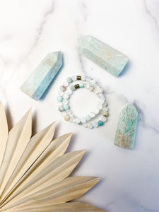 Amazonite and Selenite Bracelet