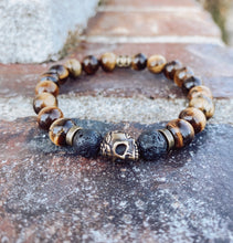 Load image into Gallery viewer, Tiger's Eye and Antique Brass Skull Bracelet