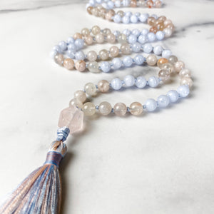 Blue Lace Agate and Cherry Blossom Agate Mala