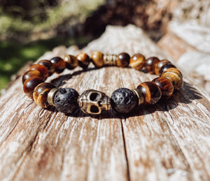 Tiger's Eye and Antique Brass Skull Bracelet