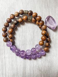 Amethyst and Black Rosewood Bracelet