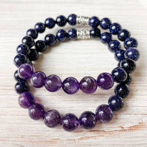 Amethyst and Blue Sandstone Bracelet