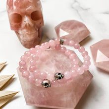 Load image into Gallery viewer, Rose Quartz Skull Bracelet