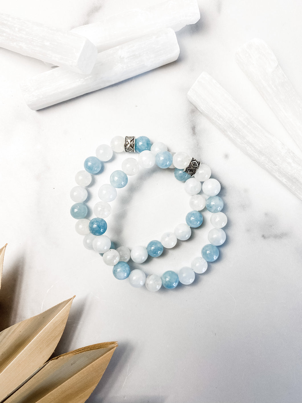 Aquamarine, Celestite and Rainbow Moonstone Bracelet