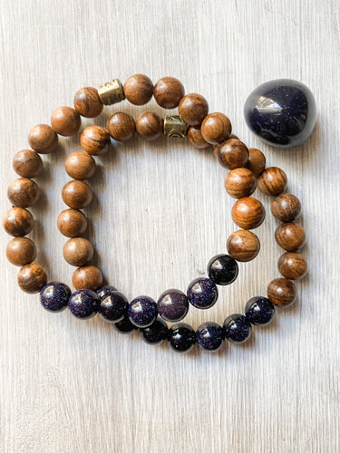 Blue Sandstone and Black Rosewood Bracelet