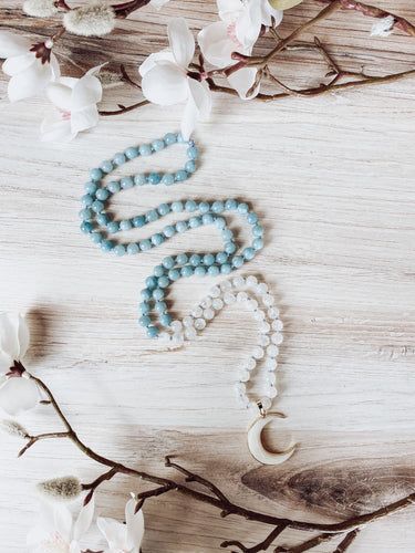 Aquamarine and Moonstone Mala with Crescent Moon Charm