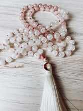 Load image into Gallery viewer, Rose Quartz and Rainbow Moonstone Mala Necklace