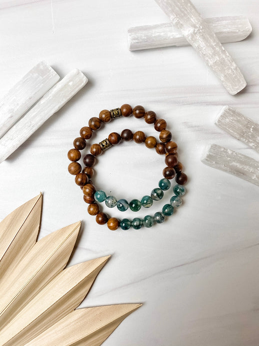 Moss Agate and Rosewood Bracelet