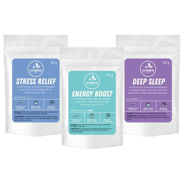 Trio Deal Pack: Energy Boost, Deep Sleep, Stress Relief - Life Booster Tea